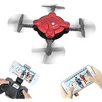 EACHINE E55 WiFi FPV Quadcopter With Camera High Hold Mode Foldable Pocket Drone RC Mini Nano Quadcopter Drone (Red)