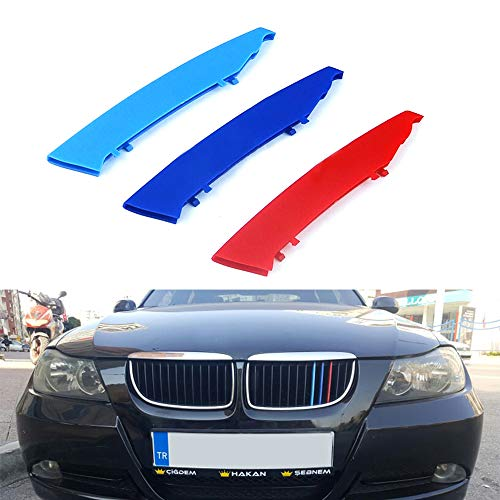 - for 05-08 BMW 3 Series E90 E91 (12 Grilles one Side) 3D M Styling 3 Colors Front Grille Trim Motorsport Stripes Grill Cover Performance Stickers 3Pcs