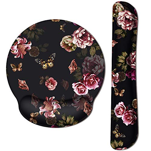 HAOCOO Ergonomic Keyboard Wrist Rest Pad and Mouse Pad Wrist Support Set with Non-Slip Backing Memory Form-Filled, Easy-Typing and Pain Relief for Gaming Office Computer Laptop (Flowers Butterflies)
