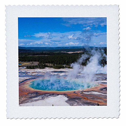3dRose Grand Prismatic Geyser, Midway Geyser Basin, Yellowstone NP, Wyoming - Quilt Square, 6 by 6-Inch (qs_206794_2) ()
