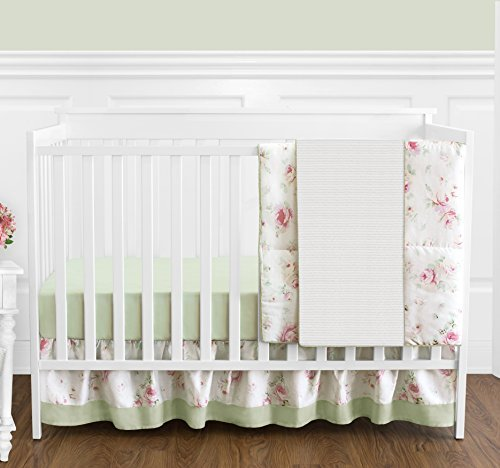 Riley's Roses Pink and Sage Green Shabby Chic Floral Baby Girl Flower Bedding 4 Piece Crib Set Without Bumper