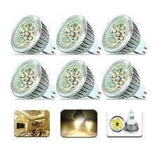 6X MR16 LED Bulbs,Warm White Lighting, 2500-3000k, 4W Equal to 40W Halogen Bulb,AC/DC 12V, Cutting Edge Design,360lm,LED Light Bulbs