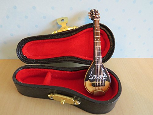 Miniature Ornamental Mandolin in Black Vinyl Case 1/12th (Mandolin Ornament)