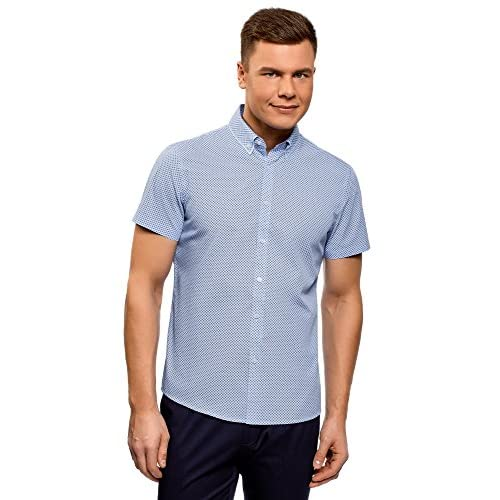oodji Ultra Hombre Camisa Estampada con Cuello Doble 9NOTWKLj21