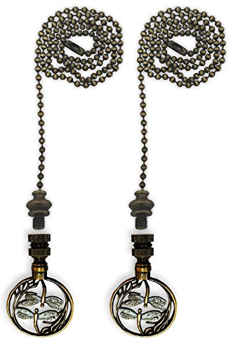 Royal Designs Fan Pull Chain with Double Dragon Fly Filigree Finial - Antique Brass - Set of 2