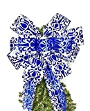 Gift giving bow, Royal Blue and White Handmade Large Gift Bow, Decorating a gift, Wreath Bows, Holiday Bow, Home Decor, Swag Bow, Door Decor - Handmade Bow