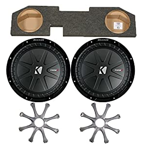 "Kicker for Dodge Ram Quad / Crew Cab 02-15 - Dual 12"" CompR subs in box w/ Grilles"
