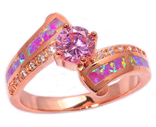 CiNily Created Pink Fire Opal Pink Topaz Zircon Rose Gold Filled for Women Jewelry Gemstone Ring Size 5-13 (8)