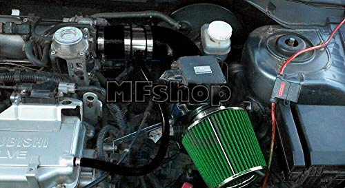 Mitsubishi Green Air Filter - Performance Air Intake Filter System for 2002 2003 2004 2005 2006 Mitsubishi Lancer OZ LS ES with 2.0L 4cyl Engine (Black Accessories with Green Filter)