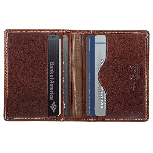 Italian Bull Leather Thin Bifold Credit Card Holder Wallet