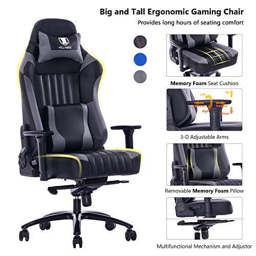 KILLABEE Big and Tall 400lb Memory Foam Gaming Chair - Adjustable Tilt, Back Angle and 3D Arms Ergonomic High-Back Leather Racing Executive Computer Desk Office Chair Metal Base, Grey ()