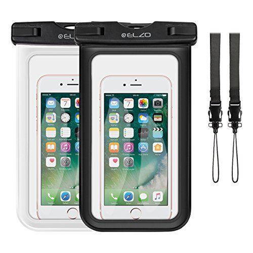 "ELZO Waterproof Case, Universal IPX8 Waterproof Phone Pouch Dry Bag for iPhone 8 7 6S 6 Plus SE, Samsung Galaxy S8 S7 S6 Edge, LG, HTC, Sony, Nokia up to 6"" Diagonal (2 Pack) - Edge Skis"