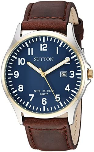 Sutton through Armitron Men's SU/5015NVBN Date Function Easy to Read Brown Leather Strap Watch