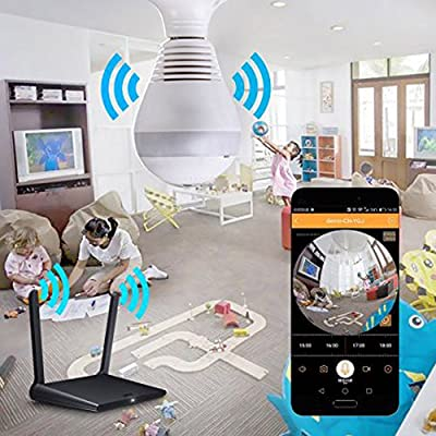 1080P Hidden Camera Wireless LED Bulb Security Wifi Panoramic 360° Degree Fisheye Lens Cameras Lights Bulb Surveillance System with Remote View Motion Detection for Android IOS APP