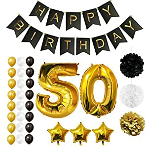 Globos cumplea os happy birthday 50 suministros y - Decoracion 50 cumpleanos ...