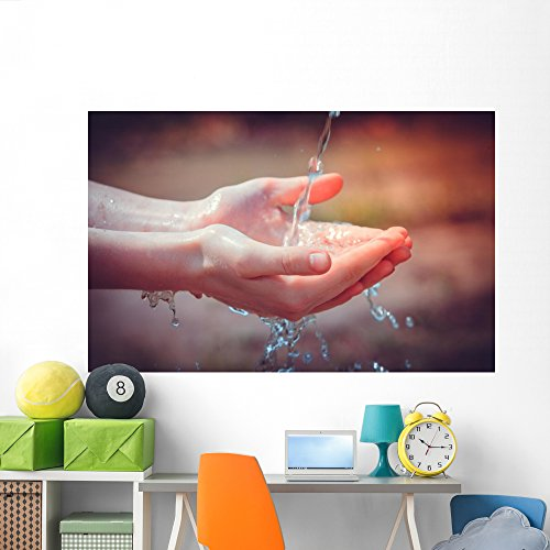 Woman's Hands with Water Wall Mural by Wallmonkeys Peel and Stick Graphic (72 in W x 46 in H) (Young Woman Drinking Water)