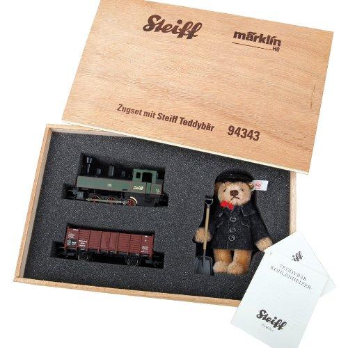 Marklin Steiff Train Set in Wood Box Digital Equipped -- Provincial 0-6-0T, Provincial Gondola w/Load Teddy Bear Fireman ()
