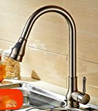 AWXJX Sink Taps Copper Kitchen Hot and Cold Pull Out Single Handle Rotate