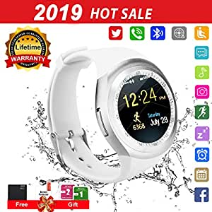 Smartwatch con Whatsapp,Bluetooth Smart Watch Pantalla táctil,Reloj Inteligente Hombre,Impermeable Smartwatches Compatible Android iOS iPhone X 8 7 6 ...