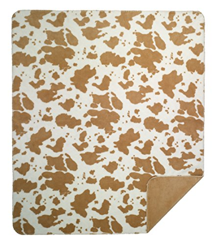 Denali Home Collection by Monterey Mills 60-Inch by 70-Inch Denali Double-Sided MicroPlush Throw, Tan Cow/Wheat Sunbeam Tan Blanket