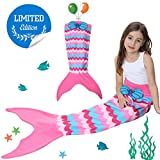 Kids Mermaid Tail Blanket with Scale Pattern,Gilrs Mermaid All Season Sleeping Blankets,Kids' Bedding Toys Sleep Bags Comforter for Air Condition Sofa,Home,Travel,Camping Birthday Gifts (A Pink cake)