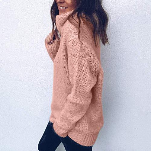 Rose Top Roulé Col Tight Slim Casual Jumper Femme Manches Wild Mode Fit De Blouse Femmes À Solide Pour Longues Pull HYzBq00