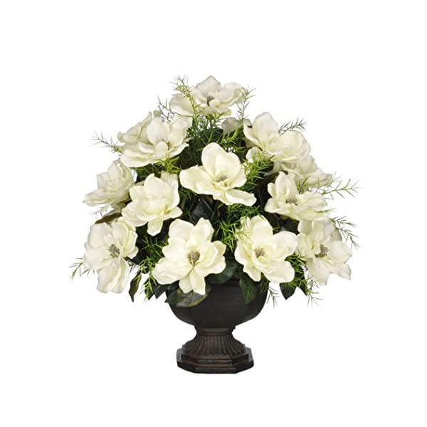 House of Silk Flowers Artificial Cream Magnolia with Asparagus Fern in Brown Garden Urn