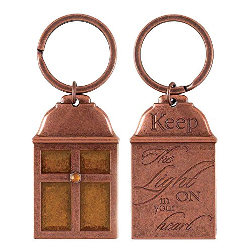 Keep the Light On In Your Heart Copper Lantern Amber Christian Key Ring Keychain