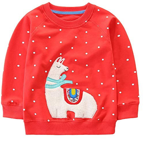 Bumeex Toddler Girls Cotton Crewneck Cute Embroidery Sweatshirts 4t Red -