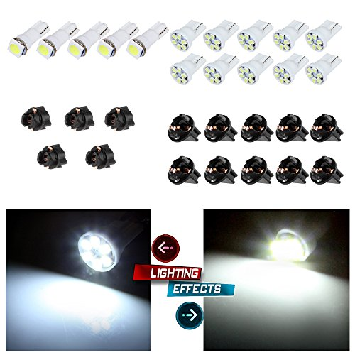 cciyu 10x T5 5050 1SMD Wedge Xenon White LED Light Bulbs +5x T10 W5W Wedge 168 194 LED Bulb +5x T10 1/2