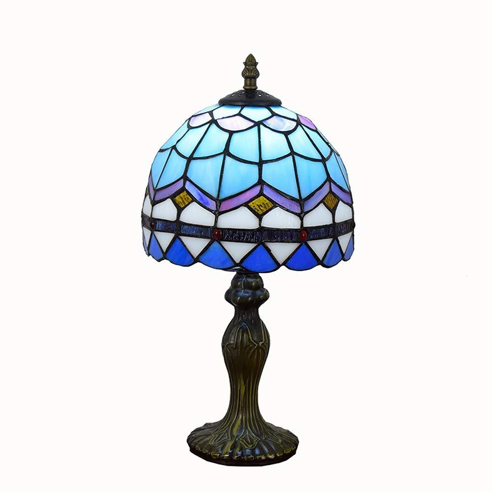 Tiffany-Stil Tischlampe, blaues Glas mediterranes Nachttisch für Schlafzimmer studieren Wohnzimmer-Hotel 8-Zoll-Knopf-Schalter