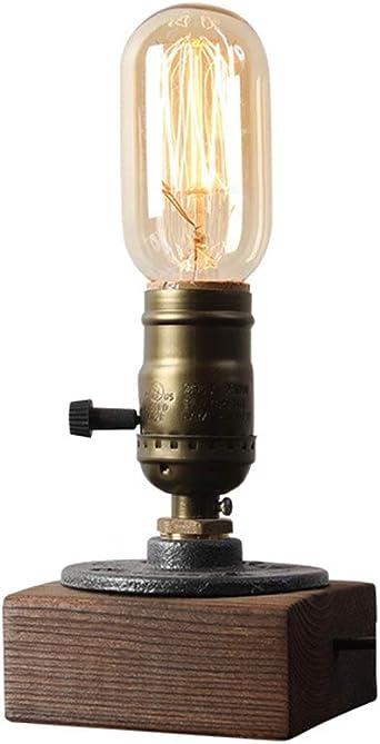 MYJ-HUIY Lámpara de mesilla de madera lámpara de mesa vintage E27 ...