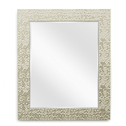 Wall Beveled Mirror Framed - Bedroom or Bathroom Rectangular Frame Hangs Horizontal and Vertical By EcoHome (27x33, Champagne) ()