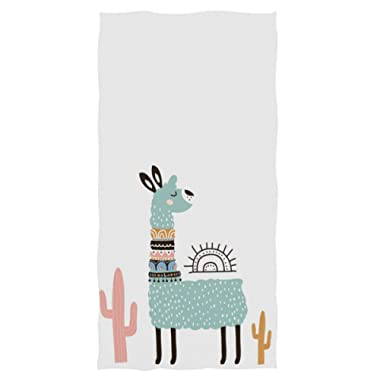 Naanle Cute Cartoon Llama Cactus Soft Highly Absorbent Large Decorative Hand Towels Multipurpose for Bathroom, Hotel, Gym and Spa (16 x 30 Inches,White)
