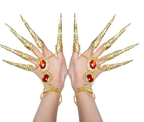 Gypsy Costume For Women (AvaCostume Womens Belly Dance Gypsy Egyptian Gold Bracelet With Finger Nails, Gold)
