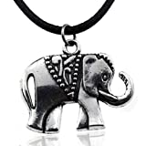 Best Embolden Jewelry Party Favors - Silver Elephant Pendant in Black Leather Cord Necklace Review