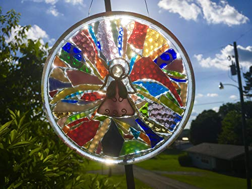 Angel Stained Glass Window Art Sun Catcher, Christian Art by Mountain Mosaics