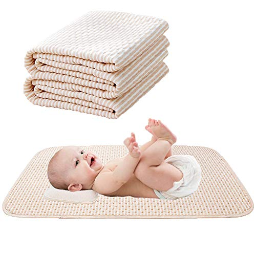 """Komica Baby Waterproof Mattress Pad - Reusable Organic Cotton Incontinence Pads 4 Protective Layers Sheets Protector for Children or Adults, Size 39.5""""x 24"""" (2 Pack)"""