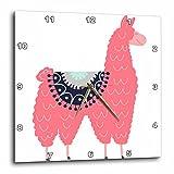 3dRose AllSouthernDesignTees - Zoo Animals - Fun creative fluffy pink llama wearing a saddle blanket - 10x10 Wall Clock (dpp_280220_1)