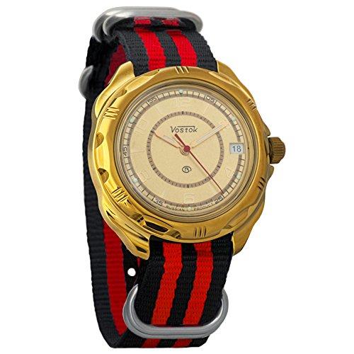 Vostok Komandirskie Classic Dial Mechanical Mens Military Commander Wrist Watch #219980 (black+red)