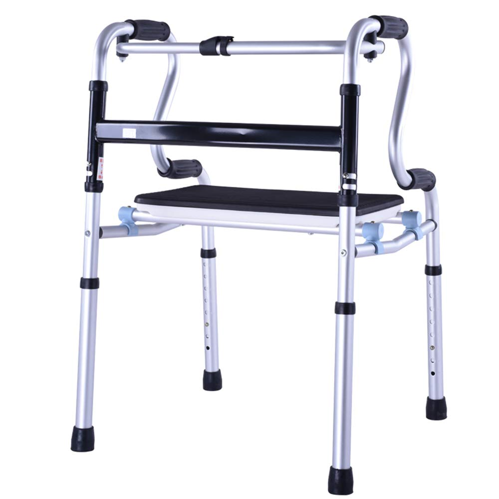 XXHDEE Elderly Walker Wheelless Walking Stand Disabled Walking Frame with Seat Plate Four-Legged Walking Stick Walking aids by XXHDEE