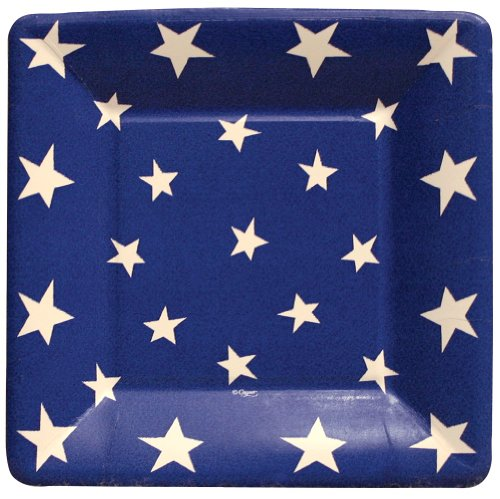 Caspari - Square Party  Paper Plates, Blue, White Stars, Pack of 8 (Paper Caspari Plates)