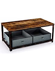 Rolanstar Rustic Coffee Table,Iron Mesh Storage Organizer Shelves and Retro Metal Frame, for Living Room