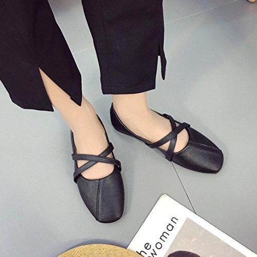Tenworld Mujeres Vintage Ballet Plano Criss Cross Slip Casual En Los Zapatos Negro
