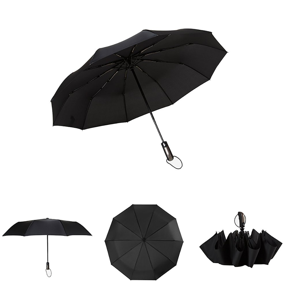 CYHO Folding Umbrella,Automatic Compact Travel Umbrella Auto Open Mini Windproof Lightweight Umbrella For Men Women-Black