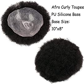 Rossy&Nancy African American Wigs All PU Base Mens Hairpiece 120% Medium Density Afro Tight Curly Human Hair Toupee #1 Jet Black 10x8inch