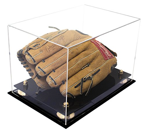 Deluxe Clear Acrylic Baseball Glove Display Case with Gold Risers (Baseball Display Case Gold Glove)
