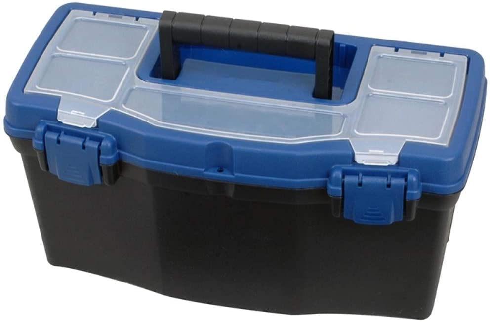 """Built in dividers Pad Eye Lock Locking Lid Clear Easy Access Top Edward Tools Plastic Tool Box with Handle 16/"""" Heavy Duty Organizer Box with Removable Organizer Tray and Handle"""