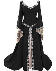 Dwevkeful Vestidos de Princesa de Manga Larga Acampanada de Color Sólido de Estilo Medieval para Mujer 50s Rockabilly Polka Dots Audrey Dress Retro Cocktail Dress Cosplay Victoriano Gotico Disfraces