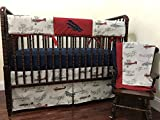 Nursery Bedding, 1 - 5 Piece Bumperless Baby Crib Bedding Set Talbot, Baby Boy Bedding, Crib Rail Cover, Airplane Baby Bedding - Choose Your Pieces